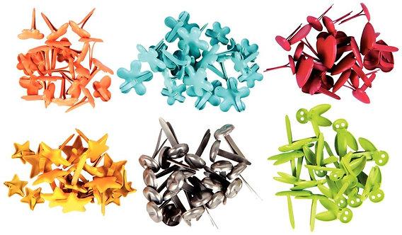 Boîte de 120 attaches parisiennes fantaisies 10 mm couleurs assorties