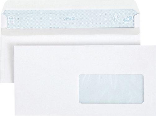 Boîte 500 enveloppes blanches DL 110x220 80g/m² fenêtre 45x100 autocollantes