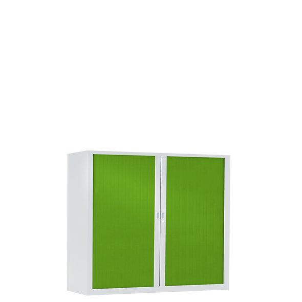 Armoire à rideaux bicolore 100 x 120 cm - Corps blanc - Rideaux Color