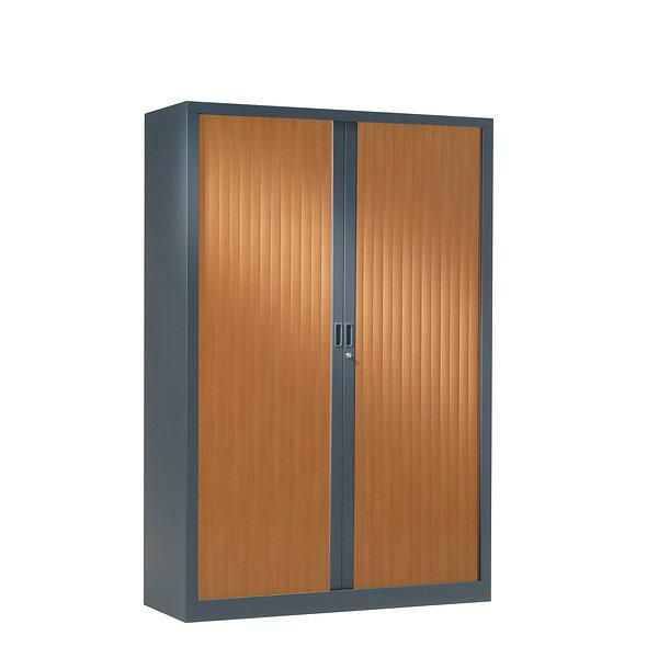 Armoire à rideaux bicolore 160 x 120 cm - Corps gris anthracite - Rideaux bois