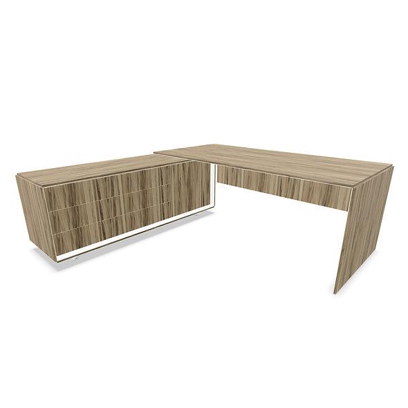 Bureau sur meuble porteur avec portes et tiroirs CEO - Piétement Blanc