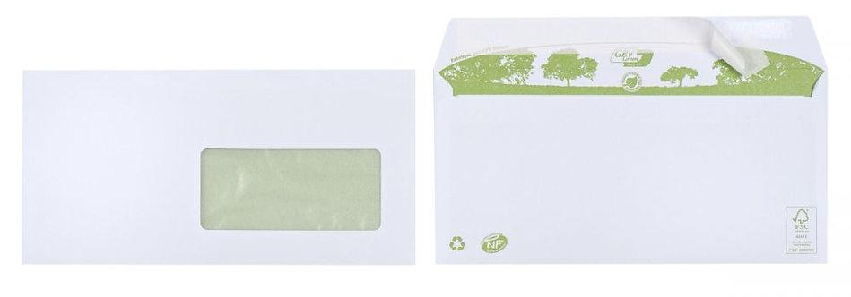 Boite 500 enveloppes blanches recyclées DL 110x220 80g/m² fenêtre 45x100 bande