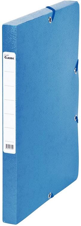 Boîte de classement en carte grainée, dos de 25 mm, coloris bleu