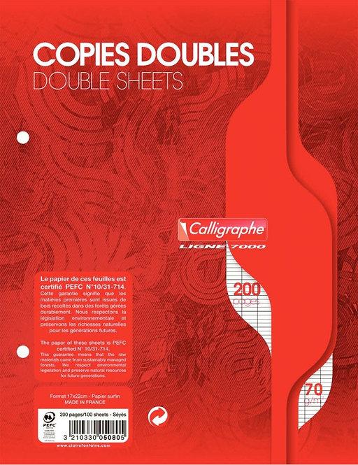 Sachet 50 copies doubles (200 pages) 17x22 cm séyès 70g blanc
