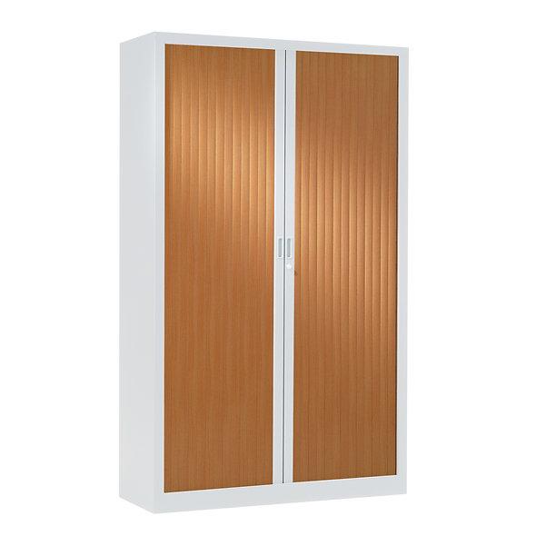 Armoire à rideaux bicolore 198 x 120 cm - Corps blanc - Rideaux bois