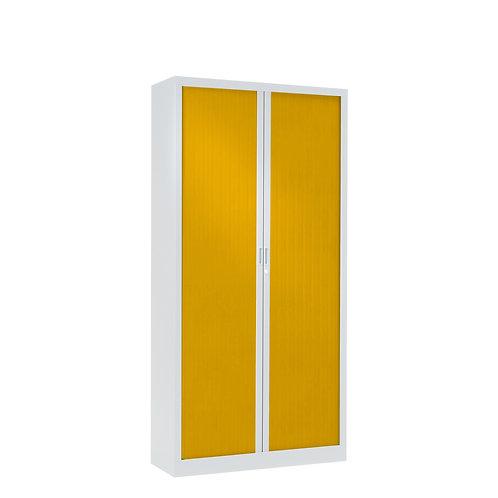 Armoire à rideaux bicolore 160 x 80 cm - Corps blanc - Rideaux Color