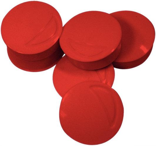 Blister de 6 punaises magnétiques, diamètre 22 mm rouge