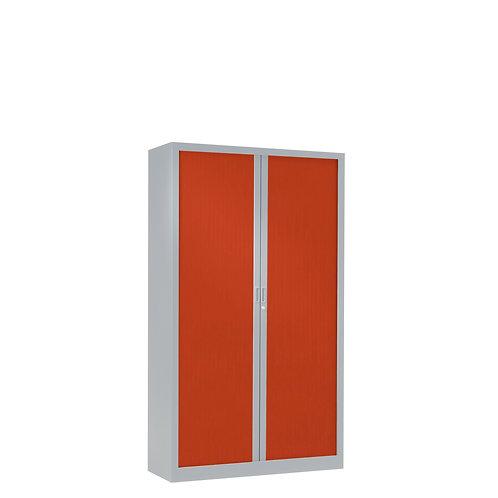 Armoire à rideaux bicolore 136 x 80 cm - Corps gris aluminium - Rideaux Color