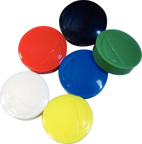 Blister de 6 punaises magnétiques, diamètre 22 mm assortis