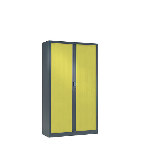 Armoire à rideaux bicolore 136 x 80 cm - Corps gris anthracite - Rideaux Color