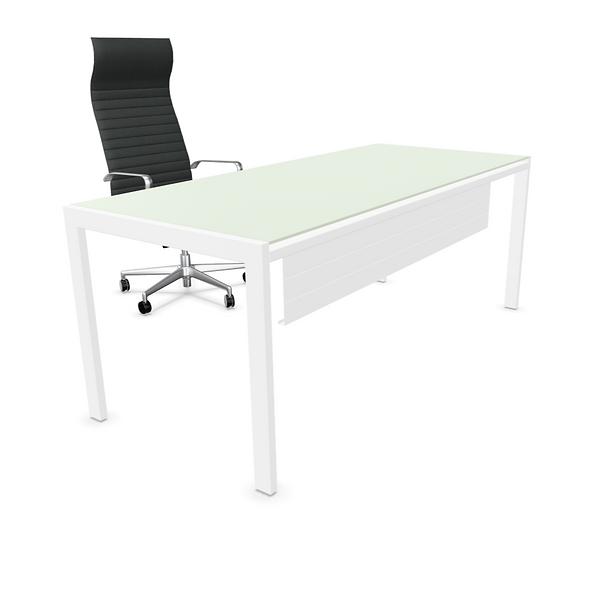 Table de bureau rectangulaire IRON - Plateau verre - Piétement Blanc