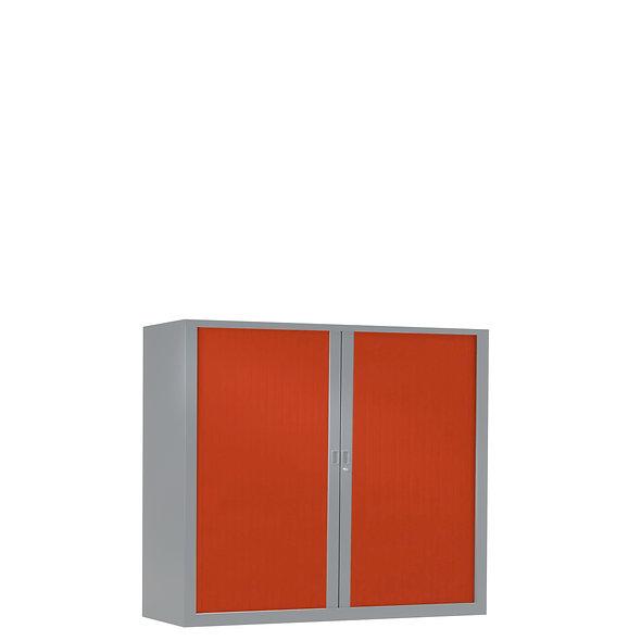 Armoire à rideaux bicolore 100 x 120 cm - Corps gris aluminium- Rideaux Color