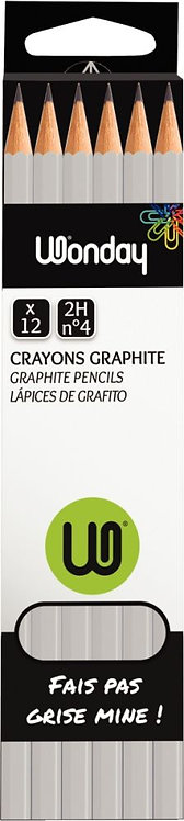 Boîte de 12 crayons graphite bout tranché 2H