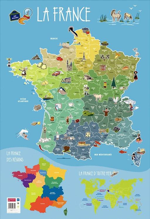 Poster Pédagogique en PVC 76x52cm - Thème La France