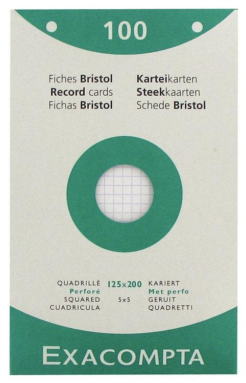 Boîte 100 fiches bristol perforées carte forte 210g blanc quadrillé 12,5x20cm