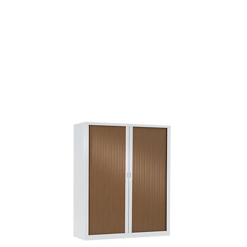 Armoire à rideaux bicolore 100 x 80 cm - Corps blanc - Rideaux bois