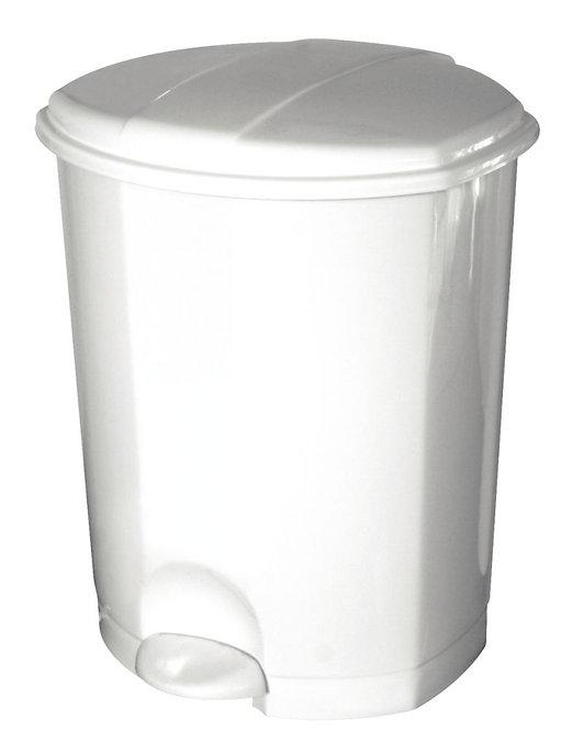 Poubelle pédale plastique blanc 18 litres