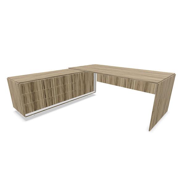 Bureau sur meuble porteur avec portes et tiroirs CEO - Piétement Argent