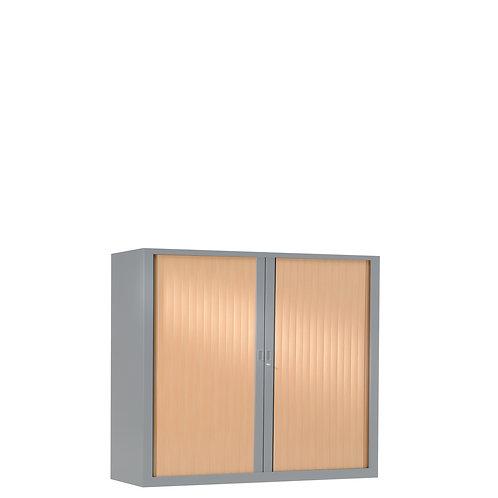 Armoire à rideaux bicolore 100 x 120 cm - Corps gris aluminium - Rideaux bois