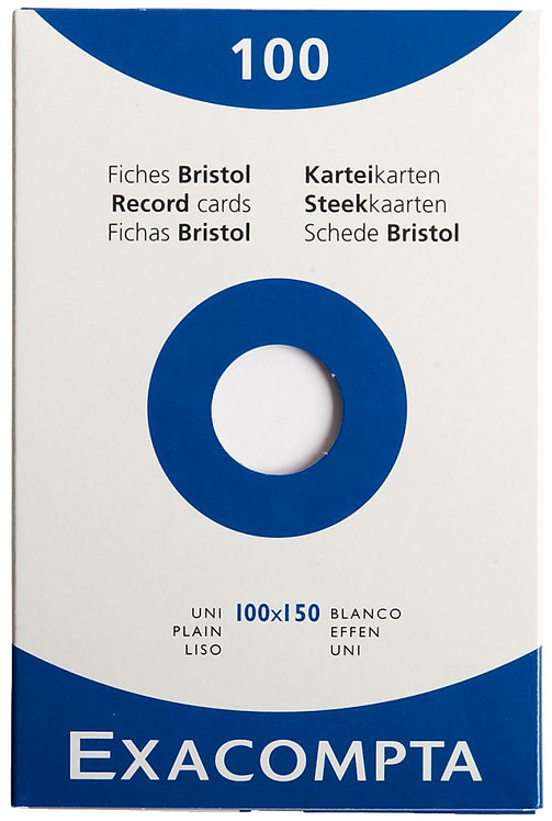 Boîte 100 fiches bristol non perforées carte forte 210g uni blanc 10x15cm