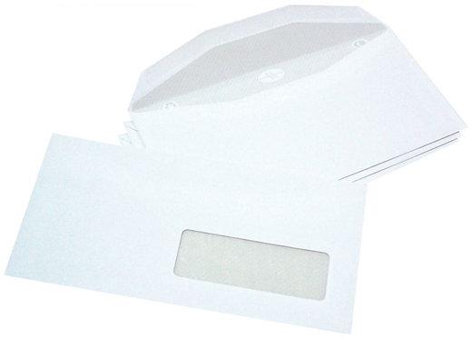 Boîte 1000 enveloppes blanches 114x229 80g/m² fenêtre 35x100 de mise sous pli au