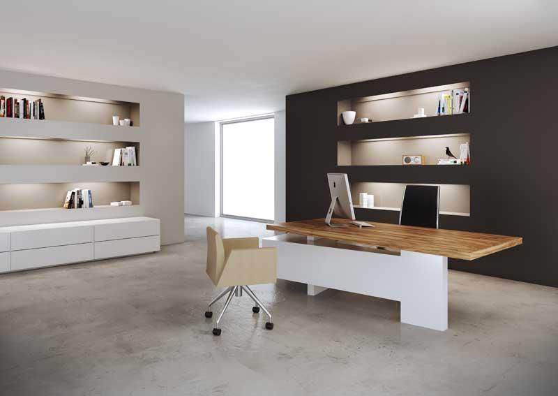 Bureau avec retour grands tiroirs MAST - Piétement Blanc