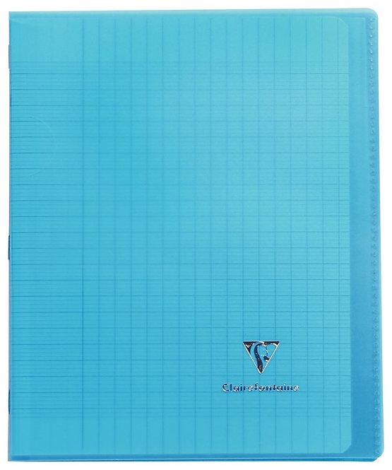 Piqûre 96 pages 17x22 cm KOVERBOOK, seyès 90g Couverture en polypropylène, bleu