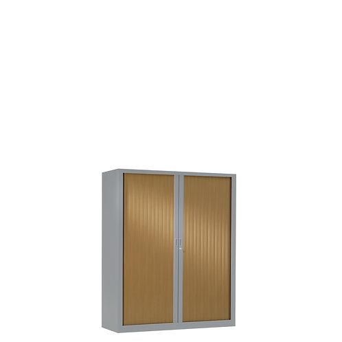 Armoire à rideaux bicolore 100 x 80 cm - Corps gris aluminium - Rideaux bois