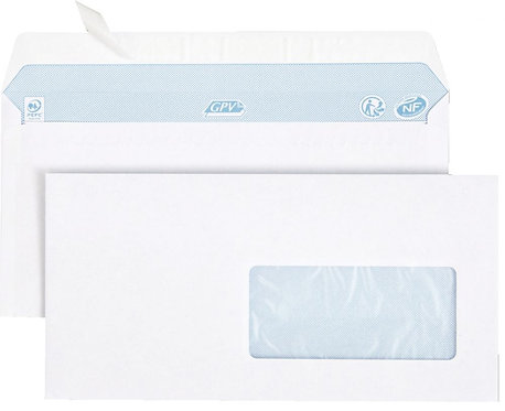 Boîte 500 enveloppes blanches DL 110x220 80g/m² fenêtre 45x100 bande protection