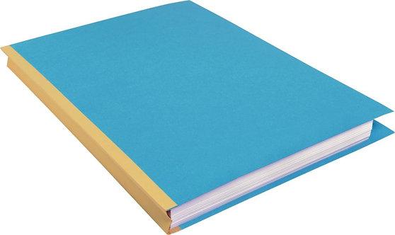 Paquet de 25 chemises rigide dos toilé à soufflet de 30 mm bleu
