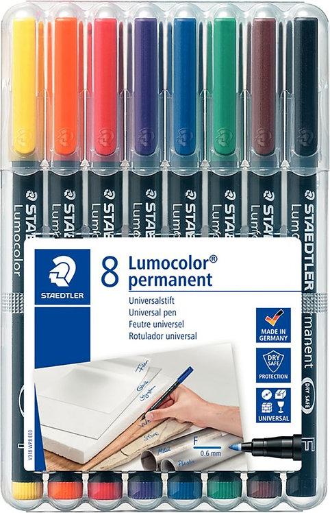 Pochette de 8 feutres Lumocolor permanent 0,6mm  assortis