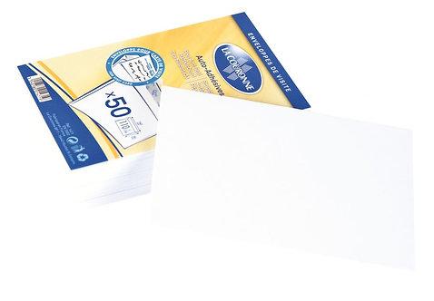 Paquet 50 enveloppes visite 90x140 110g bande siliconée