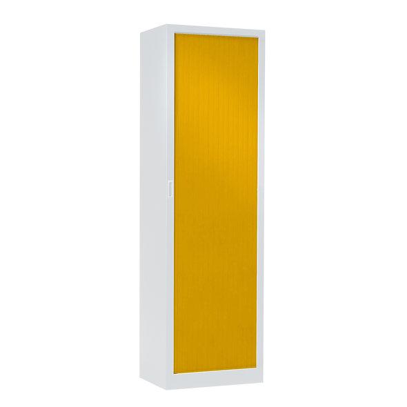 Armoire à rideaux bicolore 198 x 60 cm - Corps blanc - Rideaux