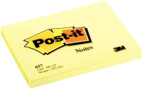 Bloc de 100 feuilles post-it notes jaune, 76 x 102 mm