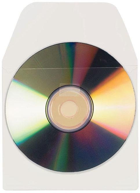 Blister de 10 pochettes adhésives pour CD/DVD avec rabat