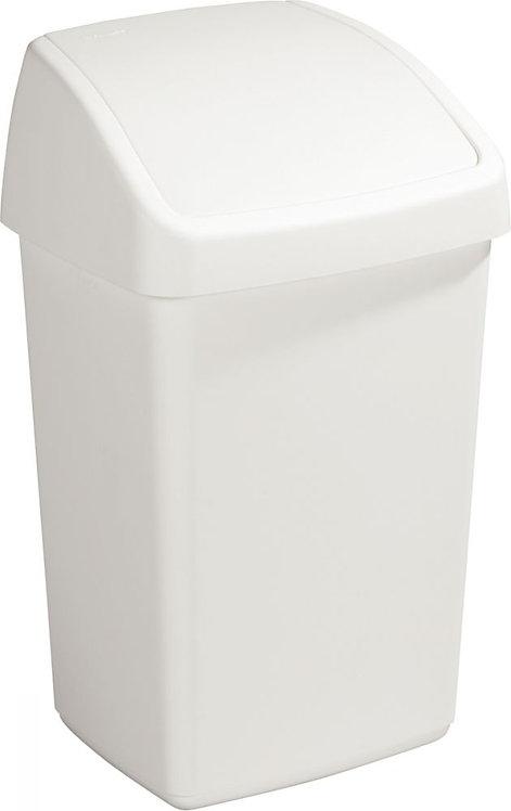 Poubelle 25 litres à couvercle SWING blanc