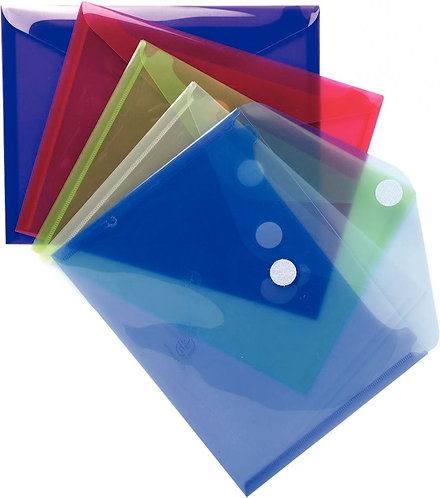 Paquet 5 enveloppes en polypropylène 20/100ème format A5 coloris assortis