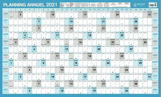 Planning souple annuel janvier à décembre