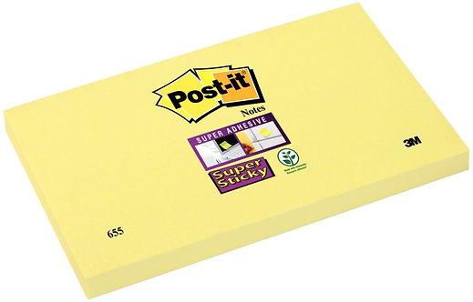 Bloc de 90 feuilles Super Sticky post-it, 76 x 127 mm, couleur jaune