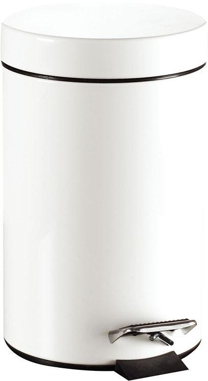 Poubelle à pédale 12 litres en métal inox blanc