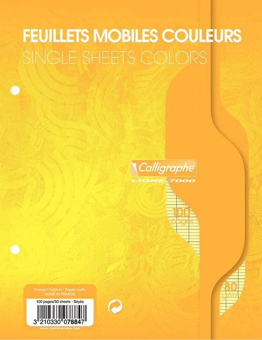 Sachet 50 feuillets mobiles (100 pages) 17x22 cm séyès 80g coloris jaune