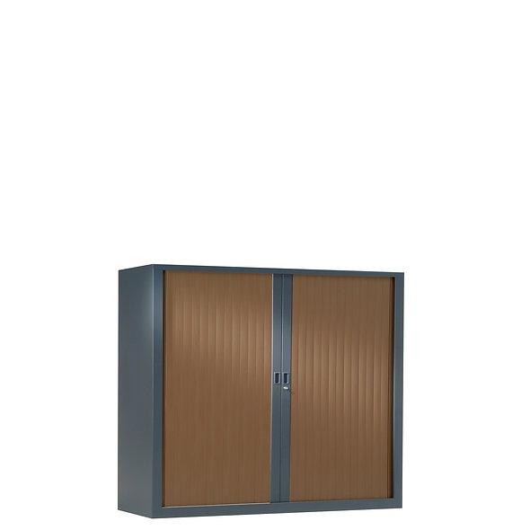 Armoire à rideaux bicolore 100 x 120 cm - Corps gris anthracite - Rideaux bois