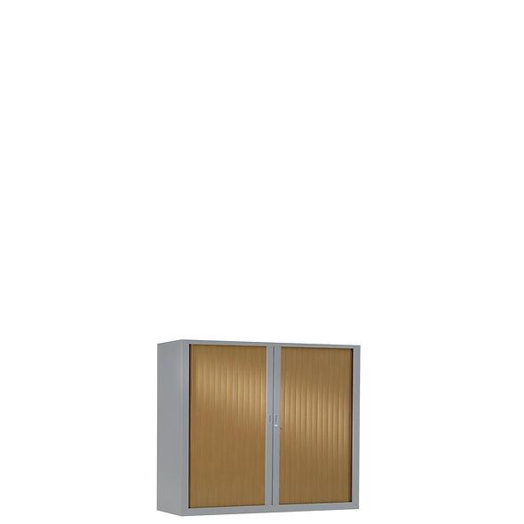 Armoire à rideaux bicolore 69.5 x 80 cm - Corps gris aluminium - Rideaux bois