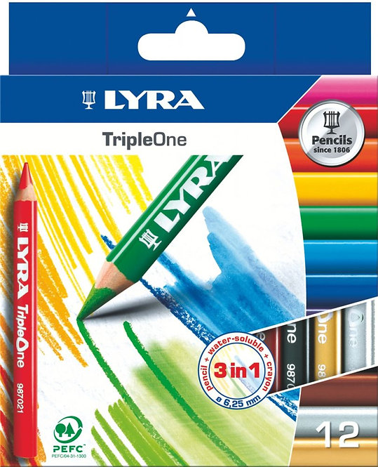 Etui carton de 12 crayons Triple One 6,25mm assorties