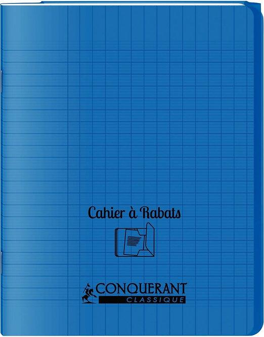 Piqûre 48 pages couverture polypropylène 2 rabats - 17x22 cm seyes coloris bleu