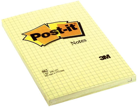 Bloc 100 feuilles post it notes repositionnables 102x152 mm quadrillé 5x5