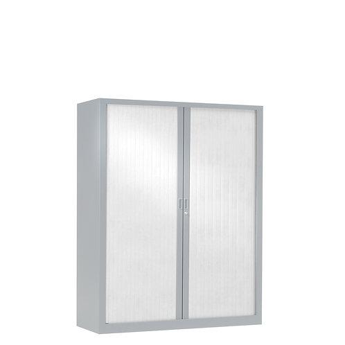 Armoire à rideaux bicolore 136 x 100 cm - Corps gris aluminium - Rideaux Color