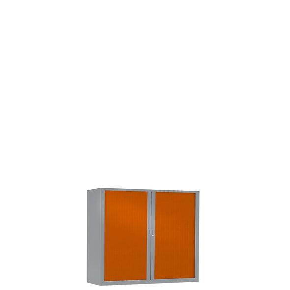 Armoire à rideaux bicolore 69.5 x 80 cm - Corps gris aluminium - Rideaux Color