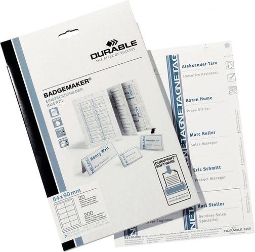 Boîte de 200 étiquettes planches d'insertion BADGEMAKER