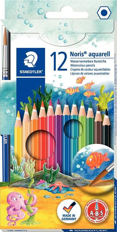 Etui de 12 crayons de couleur Noris Club aquarell assorties + 1 pinceau gratuit